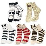 ECOMBOS Damen Socken Winter, Kuschelsocken Warme Weihnachtssocken Flauschig Haussocken Dicke Damen Geschenk Socken für Frauen und Mädchen, Tier-a, Einheitsgröße