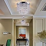 Smart Lighting-Shupregu,Mini Kristall Deckenleuchte,Kristall Deckenlampe für Flur,Eingang, SchlafzimmerUsw. Moderne Deckenleuchte Mit 3 Dimmbare Led Birnen(Kostenlos),Durchmesser 25cm