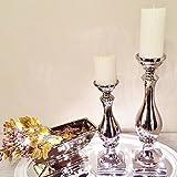 DRULINE Keramik Kerzenleuchter Kerzenständer Silber Weiß Windlicht Kerzenhalter Ständer (SCHÖN Silber/2er-Sparset)