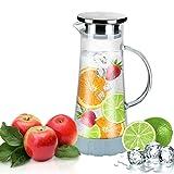 WOQO Glas Karaffe, 1.5L Krug Glas Wasserkaraffe, Wasserkrug Karaffen Saft Tee Glaskenne mit Untersetzer (Glaskrug Wasserkaraffen)
