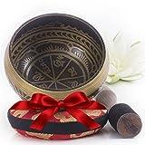 Tibetische Klangschale - Antikes Design - Inklusive Himalaya-Kissen und Klöppel – Hergestellt in Nepal
