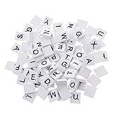 100Stück Buchstabe Scrabble Blöcke Hölzerne, Scrabble Fliesen Spiele (Weiß)