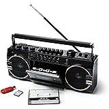 Ghettoblaster PR1980 by Ricatech | 2 x 8 Watt eingebaute X-Bass-Lautsprecher | USB + SD-Anschluss | AM/FM Radio | 3.5mm Kopfhörerausgang | Kassettenspieler | Eingebautes Mikrofon mit Aufnahmefunktion (Aufnahme von Mikrofon auf Kassette)