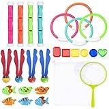Toyvian Tauchen Spielzeug Unterwasser Pool Tauchspielzeug Set -Tauchringe, Tauchstöcke, Wasserwürfelbälle, Tauchen Edelsteine, Angeln Spielzeug Kit Lagerung Net Schwimmspielzeug für Kinder