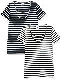 MAMALICIOUS Damen Mllea Org Nell S/S Y/D Top Nf 2Pack A. O Umstands-T-Shirt, Mehrfarbig(Navy BlazerNAVY), 36 (Herstellergröße:S) (2erPack