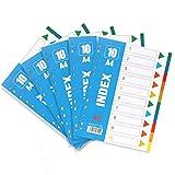 DIN-A4 Register farbig - YeeStone 5er Pack 10-teiliges mit Deckblatt - perfekte Trennblätter für die Ordner-Organisation im Büro