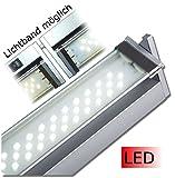 Kuechenleuchte Vitrinenleuchte Vitrinenlampe LED Länge 350 mm bis 1212 mm 230 V Schwenkbereich 45° aluminium neutralweiß mit Stecker Wippschalter und Dekorglasscheibe schwenkbare Leuchteinheit Hochvolt Anbauleuchte Anbaulampe Beleuchtung Flächenleuchte Unterbauleuchte Küchenleuchte Küchenlampe Unterbau