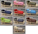 Holzschlitten mit Rückenlehne mit Winterfußsack Schlitten Holz | 10 Farben (Dunkelblau)