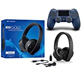 Sony Playstation Gold Wireless Headset 7.1 Surround Sound PS4 Version 2018 und Dualshock 4 Mitternachtsblau Bundle