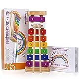 Harmonisches Xylophon für Kinder aus Holz - Glockenspiel mit Notenbuch und Holz-Schlägeln - Musikinstrument ab 3 Jahren mit wundervollen Klängen von SCHMETTERLINE