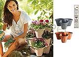Bama Spa Säulentopf stapelbar bis zu 3 Ebenen Pflanz Blumen Kräuter Topf Kübel Etagere Grau