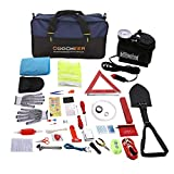 Auto Emergency Kit, Multifunktionale Pannenwerkzeugsets mit Starthilfekabel, Werkzeugtasche und Pannenwerkzeug, Sicherheitsweste, Abschleppseil, Taschenlampe, Reifendruckmessgeräte (13 'x8.7' x 6.7)