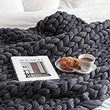 EXQULEG Gestrickte Decke, Grobe Strickdecke Wolle Garn Super große handgewebte Decke Haustier Bett Stuhl Sofa (Dunkelgrau, 80 x 100 cm)