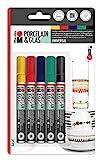 Marabu 012300080 - Porcelain Basic Painter, Porzellanmalstifte 5er Set Grundfarben, Pumpsystem, nach Einbrennen spülmaschinenfest