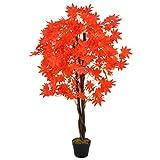 UnfadeMemory Künstliche Pflanze Ahornbaum mit Topf Kunstpflanze Rot 120 cm Kunststoff Topfpflanzen Dekoration