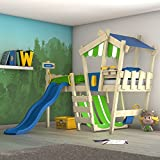 WICKEY Kinderbett mit Rutsche CrAzY Hutty Hochbett mit Dach Abenteuerbett mit Lattenboden, apfelgrün-grün + grüne Rutsche