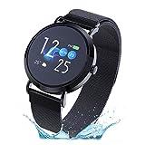 Duang Smart Watch, Fitness Tracker Uhr IP67 Wasserdichter Aktivitäts-Tracker Pulsmesser/Blutdruckmessgerät Schrittzähler, Schlaf-Monitor für Damen Herren, IOS/Android (Schwarz)