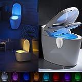 Lennystone Wiederaufladbare WC Nachtlicht ,Motion Sensor WC Licht mit 8 Farben Wechselnde LED Toilette Licht Sitzleuchte, DetektorToilette WC-Schüssel Licht (8 colors)