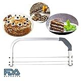 3 Klingen verstellbare große Zwischenschicht Kuchen Handwerk Saw Leveler Slicer Cutter Höhenverstellbarer Tortenbodenschneider Pâtisserie (Silber + Grau)