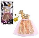 Original Mattel Barbie Mode, Kleider Set - inkl. Schuhe oder Accesoires (FKT10 - Kleid, Cocktailkleid in gold mit Handtasche und Armband)