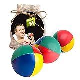 3 Jonglier Bälle, CE Geprüft, Das Ultimative 3 Ball Jonglier Set mit Gratis online Lern Video im beigen Jute Sack - von MisterM
