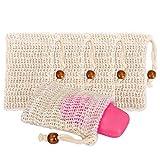 Amorar Sisal Seifenbeutel 5 Stück Seifensäckchen Bio Seifentasche Natur Seifentasche Seifenschwamm für Aufschäumen und Trocknen der Seife, Peeling, Massage