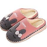 SAGUARO Winter Baumwolle Pantoffeln Plüsch Wärme Weiche Hausschuhe Kuschelige Home Rutschfeste Slippers mit Cartoon für Herren Damen, Pink 40