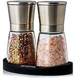 Salz und Pfeffermühle | Gewürzmühlen Set mit einstellbarem Keramikmahlwerk | Menagen aus Glas und Edelstahl