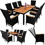 PolyRattan Sitzgruppe 8+1 Schwarz Gartenmöbel Gartenset Sitzgarnitur  neigbare Rückenlehnen  Tisch aus Akazienholz  wetterbeständiges Polyrattan  Modellauswahl