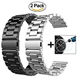 VIGOSS Gear S3 Frontier/Classic Watch Armband, 22mm Silber voll magnetischer Schnallenverschluss, Netz, Schlaufe, Mailänder Edelstahl Armband Uhrenarmband für Samsung Gear S3 Watch (Metall Schwarz + Metall Silber)