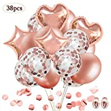 SPECOOL 38 Stück Rose Gold Konfetti Ballons,Herz Stern Folienballon für Hochzeit und Geburtstag Party Dekorationen,Hochzeiten, Geburtstage, Brautgeschenke, Valentinstag