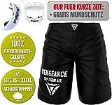 Vengeance Premium Shorts | + GRATIS MUNDSCHUTZ (Werbeaktion) + E-Book (HCG-Diät) | XS - 4XL | MMA, Krav MAGA, BJJ, Boxen, Kickboxen, Kampfsport, Fitness | Kurze Hose | Herren & Damen (XS)