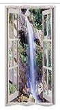 Nyngei Wasserfall Duschvorhang Offenes Fenster Sieht Eine Kleine Wasserkaskade Fließt Hügel Hinunter Freizeit Bild Stoff Badezimmer Dekor Set mit180x Braun Grün