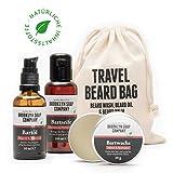 Bartpflege-Set: Travel Bag  bestehend aus Bartseife, Bartöl, Bartwachs  Naturkosmetik der BROOKLYN SOAP COMPANY   Geschenkidee als Geschenk für Männer und als Reiseset für den modernen Mann