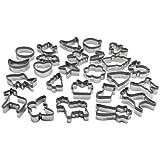BackeFix Keksausstecher Ausstechformen aus Edelstahl mit Silikon Schutz – Lebkuchen Tiere Fisch Grau 25 Stück