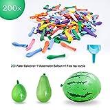 Elegear 201 Stück WasserbombenWasserballons Wasserschlacht Luftballons Latex DIY (inkl. 9' Wassermelone Bomben) Bunt mit schnelle Knoten -und Wasser Füllhilfe Wasserbombenparty Sommerspaß für Kinder
