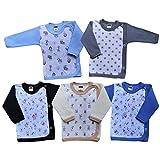 MEA BABY Baby Wickelshirt Langarm Baumwolle 5er Pack. Wickelshirt Baby Mädchen Wickelshirt Baby Junge (56, Jungen)