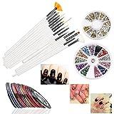 RUIMIO Zwei Boxen Nägel 3D Dekoration Steine + 15stk Nägel Pinsel Stifte + 30 Farben Nail Art Sticker