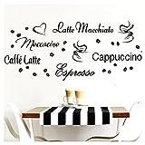 Grandora Wandtattoo Kaffeesorten I haselnussbraun Kreativset I Kaffee Kaffeebohnen Kaffeetasse Küche Esszimmer Aufkleber Wandaufkleber Wandsticker Sticker W3047