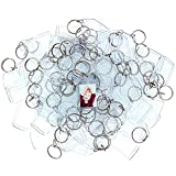 100 Transparente Acryl Foto Schlüsselanhänger von Kurtzy - 5.4cm x 3.2cm Schlüsselring Rohlinge - Brieftaschen freundlicher Schlüsselring für Benutzerdefinierte Personalisierte Bilder - Frauen, Männer