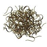 100 Stück Antik Bronze Messing Ohrhaken Flache Fischhaken Ohrringe Hypoallergen nickelfrei Schmuck mit großer Schlaufe