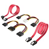 Inateck 2x SATA 3 Kabel 0,48m & 4pin ATX zu 2 x 15pin SATA Stromadapter + 15pin SATA zu 2 x 15pin SATA Stromkabel - je 0,16m, Strom- und Datenkabel, Stecker gerade zu Stecker gerade, Gelb/Rot