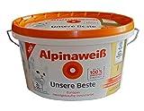 2 Liter Alpinaweiß Unsere Beste, weiße Innenfarbe Matt, spritzfrei, beste Deckkraft