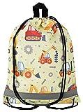 Aminata Kids - Kinder-Turnbeutel für Mädchen und Junge-n mit BAU-Fahrzeuge Auto-s Betonmischer Bagger Sport-Tasche-n Gym-Bag Sport-Beutel-Tasche gelb Weiss rot Baustelle