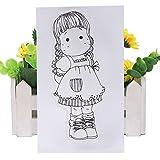 ECMQS DIY Cute Girl Transparente Briefmarke, Silikon Stempel Set, Clear Stamps, Schneiden Schablonen, Bastelei Scrapbooking-Werkzeug