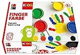 Marabu Kids 0303000000081 - Fingerfarbe, 6 x 100 ml, gelb, rot, blau, grün, weiß und schwarz