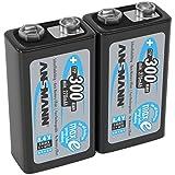 ANSMANN LSD 9V Akkubatterie / Typ 300mAh / Wiederaufladbarer NiMH E-Block / Vorgeladener Akku mit geringer Selbstentladung & hoher Kapazität / Ideal für Spielzeug, Taschenlampe, uvm. / 2 Stück