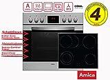 Amica Einbauherdset EHC 12816 E mit Umluft | Bräterzone | Zweikreis Kochzone | Timer-Funktion | SteamClean Reinigung | 4 Jahre Hersteller Garantie