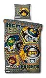 Bettwäsche-Set kompatibel mit Nexo Knights Motiv, 135x200 cm + 80x80 cm, Kinder und Jungen, Linon 100% Baumwolle