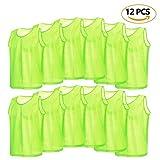 12er Set Erwachsene Fußball Trainingsweste Trainingsleibchen Markierungshemd für Volleyball Fußball Basketball ( Farbe : Grün )